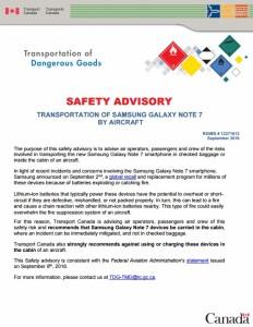 Samsung Galaxy aircraft transportation safety advisory