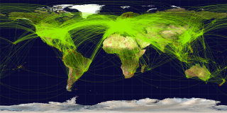 map of airline traffic around the world